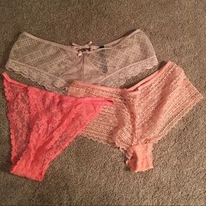 Lot of 3 Victoria's Secret Women's Lace Panties